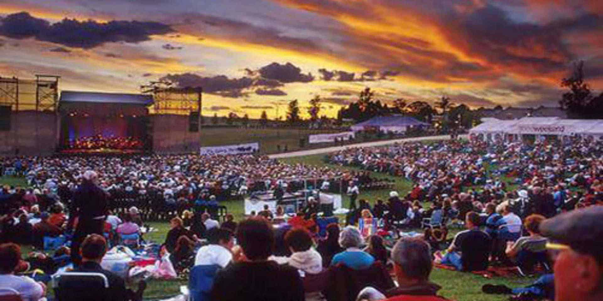 Spectacular sunset during outdoor concert