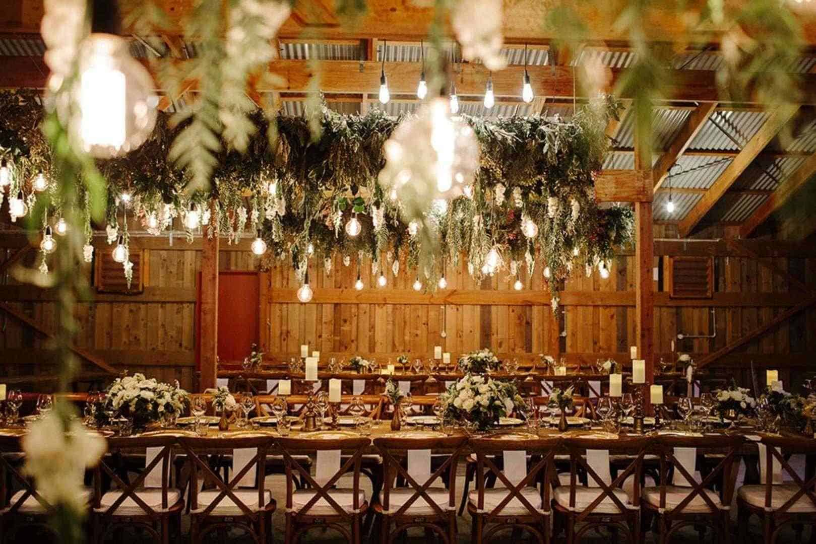 Brightly-lit wedding reception