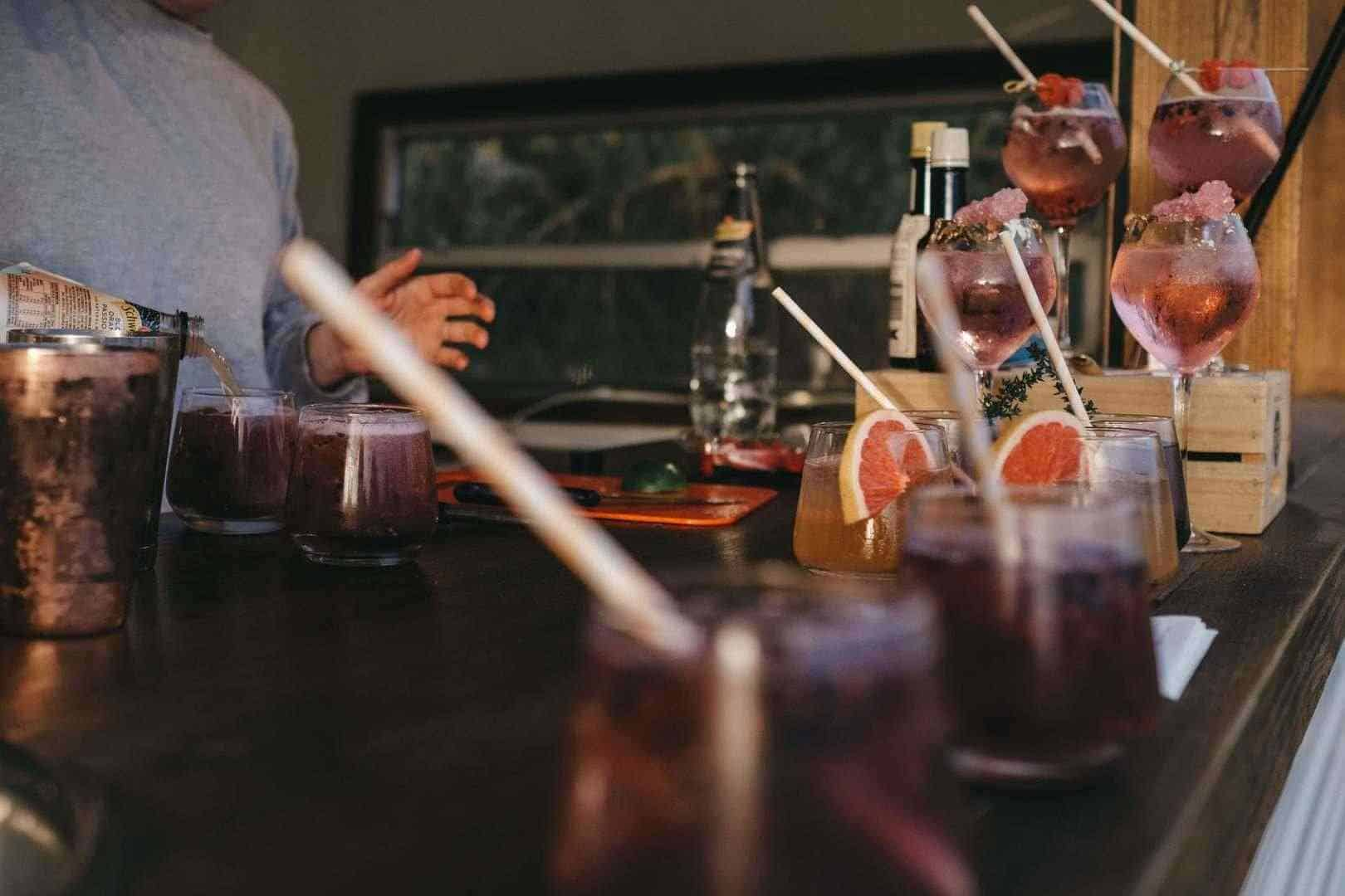 Burgundy-coloured cocktails
