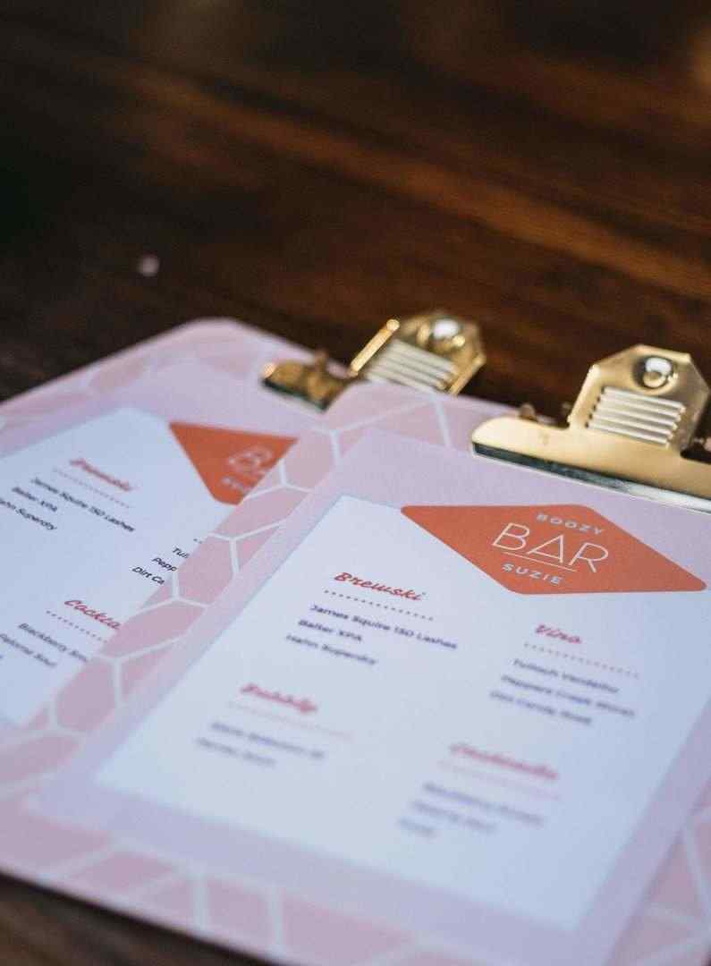 Boozy Bar Suzie menu