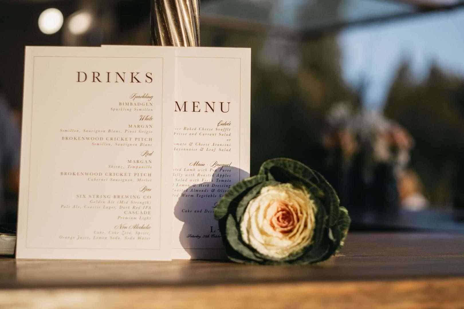 Drinks and menu